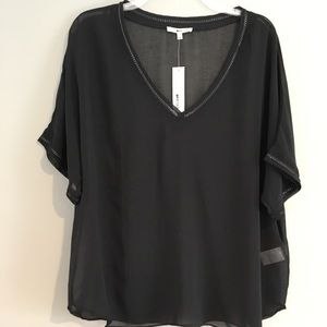 Gorgeous LA Made sheer black top with chain trim